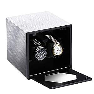 CRITIRON Automatischer Uhrenbeweger für 2 Uhren mit Netzteil Teilen Batterie Watch Winder Uhrenbox Uhrenwender Uhrenvitrine Uhrendreher Uhrenwender Silber Schwarz