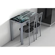 Mesa extensible de cristal para cocina con serigrafía de Nueva York 45-80x90cm