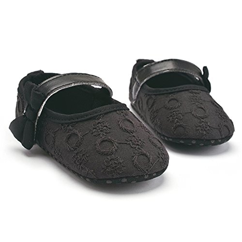 La Cabina Bébé Fille Lovely Chaussures Souples de Premier Pas en Coton Confortable Chaussures Antiglisse avec Nœud Papillon (11(3-6mois), Rose) Noir