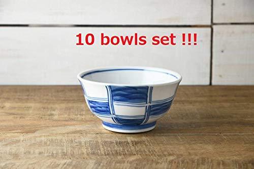 Yamani Pottery B1901006 Lot de 10 Bols à Riz Japonais Motif Japonais Mino Yaki