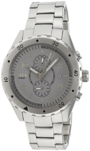 Esprit Alamo Men's Quartz Watch with Grey Dial Analogue Display and Silver Stainless Steel Bracelet ES105551005