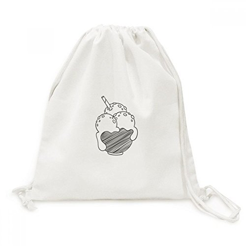 diythinker schwarz Schüssel Kekse Ice Cream Ball Leinwand Kordelzug Rucksack Travel Einkaufstaschen (Schüssel Moda)