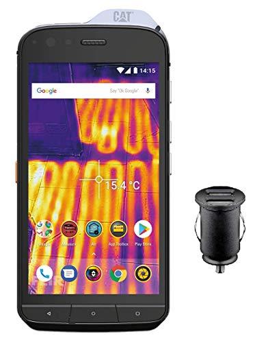 Caterpillar Cat S61 - Smartphone (Pantalla FHD IPS de 5,2 Pulgadas, 64 GB de Memoria Interna y 4 GB de RAM, Dual SIM, Android 8.0, Incluye Adaptador para Coche de 12 V), Color Negro