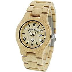 FunkyTop Mens hölzerne Uhren 100% handgemachte natürliche Bambus-Quartz-analoge Uhren mit Datum Kalender, Ahornholz
