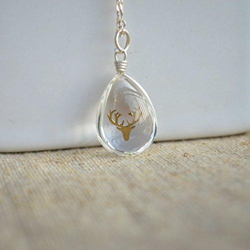 Hirsch Kopf Transparente Wasser Tropfen Glas 925 Sterling Silber Halskette 45cm Länge