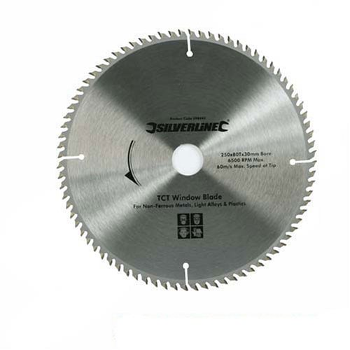 Silverline, 598444, Lama per sega circolare per finestre in PVC, 80 denti, 250 x 30 mm, Manicotto di riduzionee: 25, 20 e 16 mm