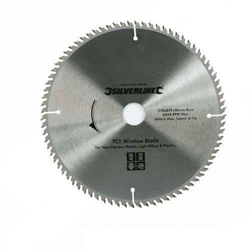 fenster 30x30 Silverline 598444 Hartmetall-Kreissägeblatt für PVC-Fenster, 80 Zähne 250 x 30, Reduzierstücke: 25, 20 u. 16 mm