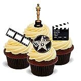 Hollywood Style Mix Film Camera Action - Standups 12 Edible Standup Premium Wafer Cake Toppers - CINTA, CÁMARA, ACCIÓN, HOLLYWOOD 12 Decoraciones comestibles de oblea para magdelenas