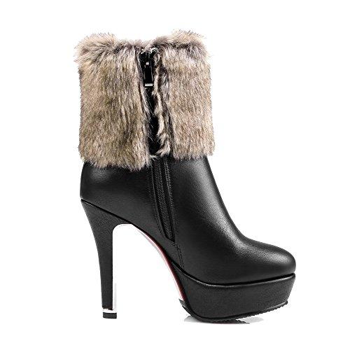 AllhqFashion Damen Hoher Absatz Rein Rund Zehe Blend-Materialien Reißverschluss Stiefel, Schwarz, 39