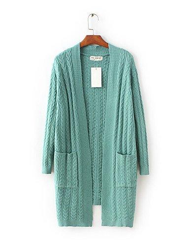 BaiChunYunYi Longue Cardigan Femme Sortie Décontracté / Quotidien simple,Couleur Pleine Col en V Manches Longues Laine Coton Printemps AutomneFin gray