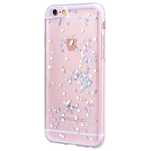 WE LOVE CASE Coque iPhone 6 Plus, Transparent Paillette Glitter Ultra Fine Souple Gel Coque iPhone 6S Plus Silicone Motif Coque Girly Resistante, Coque de Protection Bumper Officielle Coque Apple iPho Argent