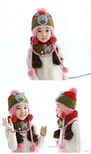 Bigood Bonnet Echarpe Bébé Enfant Chapeau Animaux Imprimé Cache Oreilles Tour de Cou Noël Rose
