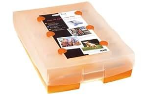 CROCO 2-6-19 Lernkartei A8, inkl. 100 Karten, 19 Kästchen und 1 Bleistift: transluzent orange