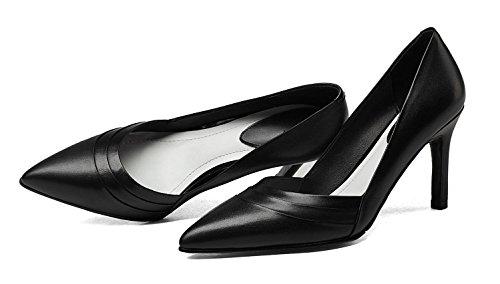 SHIXR Femmes Pompes Chaussures à boutons fermés fines avec bouche superficielle Talons hauts Court Shoes noir cow leather