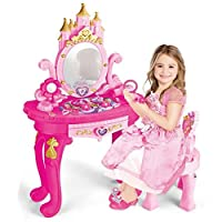Princess Vanity Dressing Table & Stool Toy Kids Girls Role Pretend Play with Accessories - Mirror, Hair Dryer, Plastic Scissors, Hair Brush, Bracelets and More