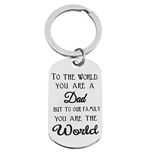 Anyeda Schlüsselanhänger Herren Edelstahl Erkennungsmarke Gravur to The World You Are A Dad But to Our. Schlüsselanhänger Paar mit Gravur Silber Style C 4X2.4Cm
