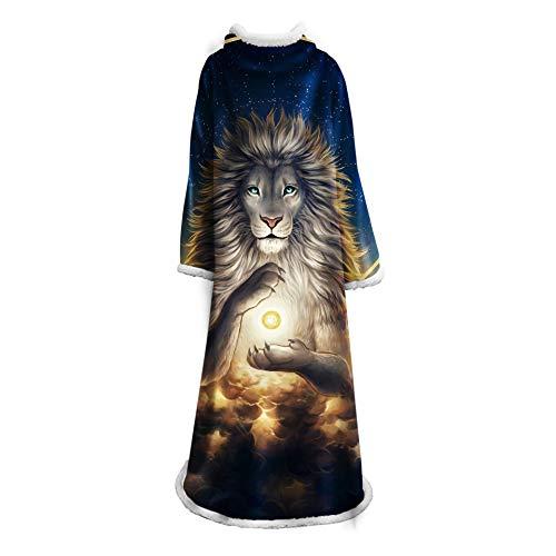 Decke Sherpa mit Ärmeln, 3D Wearable Decke Plüsch Fleece Sofa Lange Decke, große Fluffy Wrap Robe für Erwachsene Frauen Männer,B -