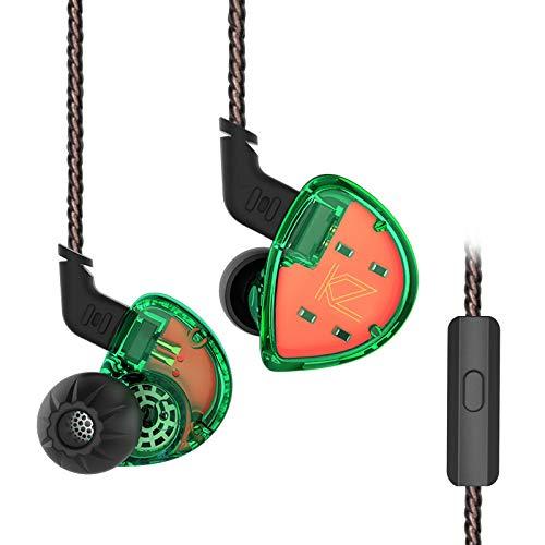 Yinyoo kz es4 auricolari in ear con microfono con filo in ear cuffie, bass hifi auricolari in ear monitor per esercizio palestra (verde con microfono)