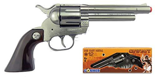 Gonher 121/0 - Revolver Cowboy 12-Schuss, stahlfarbend -