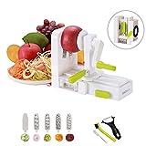 InnoBeta Espiralizador-Cortador en Espiral, Mandolina, rallador, para Frutas y Verduras, 5 Cuchillas, para Low-Carb Ensalada, Pasta & Espaguetis, Cepillo de Limpieza, Receta Ebook, pelador Incluido