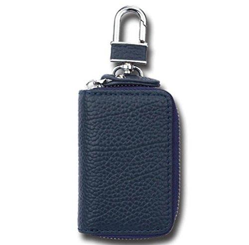 Sucastle,Lederkarikaturschlüsselkasten Männer und Frauen allgemeines lychee Musterreißverschlussauto-Schlüsselbeutel,Echtleder,8.5cm*6cm*2cm