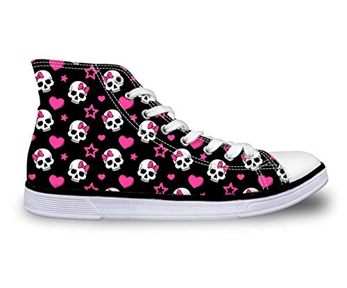 New Cool Skull Fashion Women's Canvas Shoes High Top Casual Sneakers Lady Shoes 5 Black + Skull 10