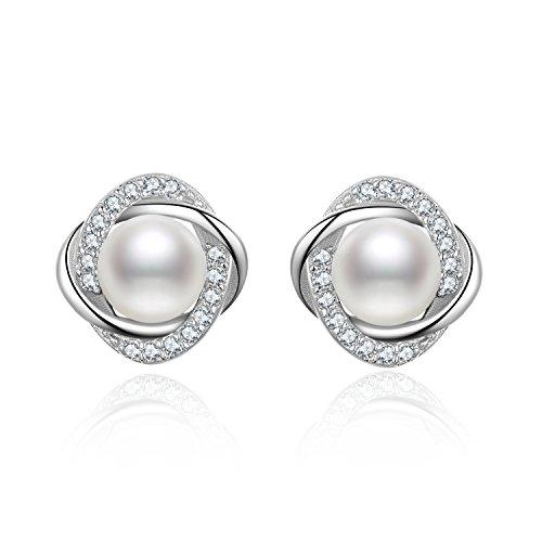 S.Vantine 925 Sterling Silber Ohrringe Runde Frischwasser Perlen Mädchen Frauen Ohrstecker