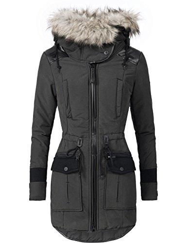 Khujo Damen Winter Mantel Winterparka YM-Retro Bugs Schwarz Gr. XL