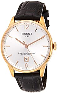 Tissot Men's Chemin Des Tourelles 42mm Black Leather Band Steel Case Automatic Watch T099.407.36.03