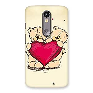 Cute Cute Heart Twin Teddy Back Case Cover for Moto X Force