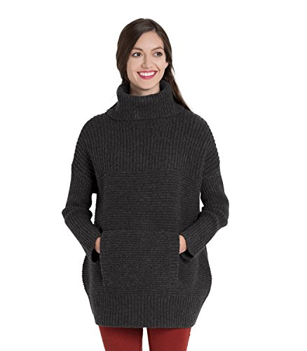 Womens Lambswool Chunky Roll Neck Jumper Charcoal, L