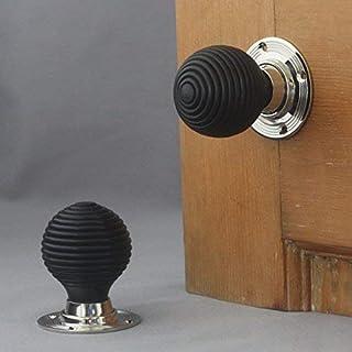 Victorian Solid Ebony & Nickel Beehive Door Knobs by Architectural Decor