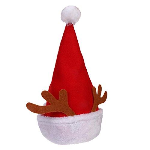 MagiDeal Enfants Noël Chapeau Pointu Rouge avec Bois de cerf Accessoire Costume de Fantaisie pour Party Vacances Noël