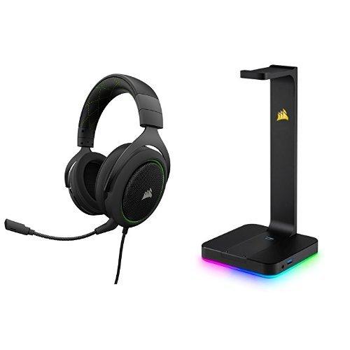 Corsair HS50 Gaming Headset / Stereo Kopfhörer, grün + Premium Kopfhörer-Ständer ST100, schwarz (Wireless Headset Corsair)