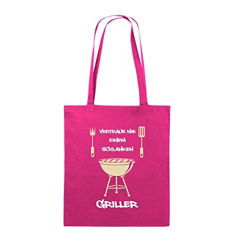 Comedy Bags - Vertraue nie einem schlanken Griller - Jutebeutel - lange Henkel - 38x42cm - Farbe: Schwarz / Weiss-Neongrün Pink / Rosa-Weiss-Beige