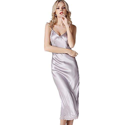 DMMSS Damen Silk Pyjamas Silk Seide Rock Silky Mit VAusschnitt Sling ...
