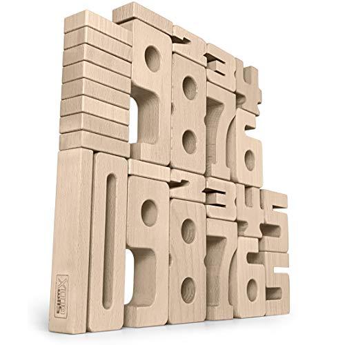 SumBlox Montessori Spielzeug Einsteiger Set - 27 große Holz Bausteine aus massiver Buche in Form von Zahlen - Beim Spielen Mathematik, Zahlen, 1x1 (Einmaleins) und Rechnen Lernen - Spielzeug Stapeln Kinder