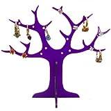 Albero Anello Acrilico (Per Orecchini E Anelli), nel acrilico viola, 14cm di altezza, 17cm di larghezza