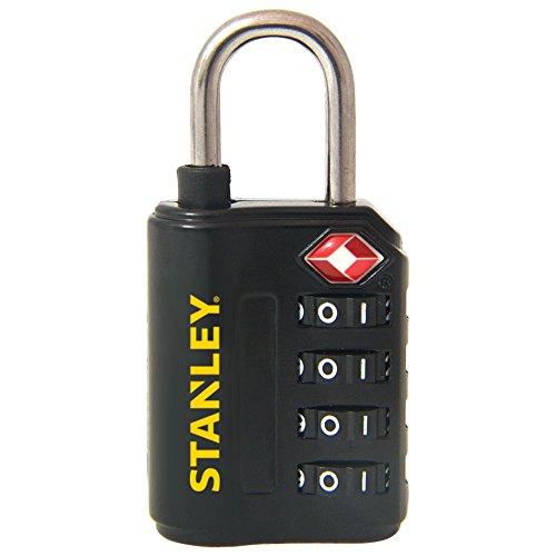 Stanley S742-057 Candado de combinación de 4 dígitos con indicador de seguridad, Negro, 30 mm