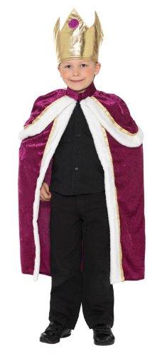 Smiffys, Kinder Jungen König Kostüm, Umhang und Krone, Größe: L, (Kostüm Teufel Zubehör Uk)