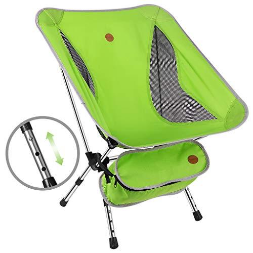 Awenia Campingstuhl mit Verstellbarer Höhe Tragbarer Faltstuhl Klappstuhl Ultraleicht Angelstuhl Strandstuhl mit Rückenlehne, Tragetasche für Angeln, Wandern, Picknick, bis zu 150kg