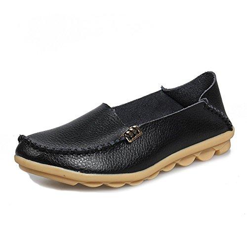 CCZZ Moccasin Femme Cuir Loafers Casuel Bateau Chaussures De Flats Noir