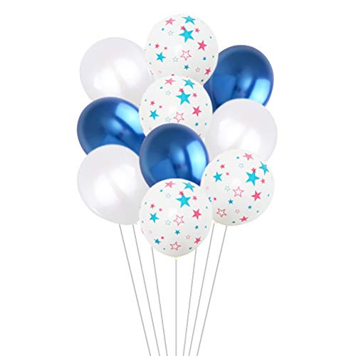 Amosfun 12 Zoll Independence Day Luftballons Dekoration Patriotic Party Star Bedruckte Luftballons Fourth of July Ornamente 10 STK