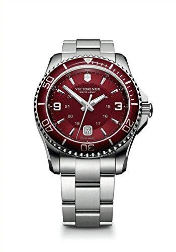 Victorinox Swiss Army Maverick 241604 – Reloj analógico de cuarzo para hombre, correa de acero inoxidable color plateado (agujas luminiscentes)