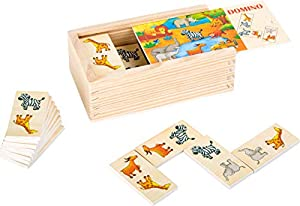 small foot company- Domino Safari de Madera FSC 100% certificada, Divertido Juego de Mesa con Motivos de Animales Coloridos. Juguetes, Multicolor (Small Foot by Legler 10963)