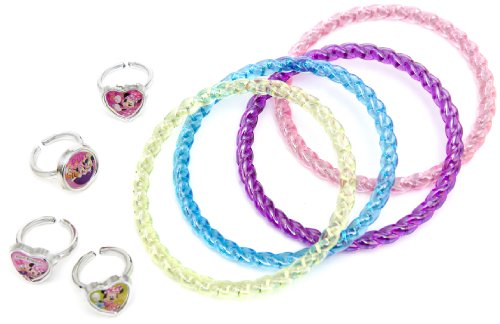 Disney 23149 - set con 4 braccialetti e 4 anelli, 7x7x2.5 cm