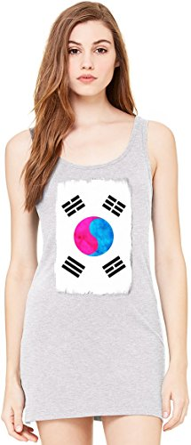 South Korea Flag Bella Basic ärmellose Tunika Sleeveless Tunic Tank Dress For Women| 100% Premium Cotton| X-Large (South Drapieren)