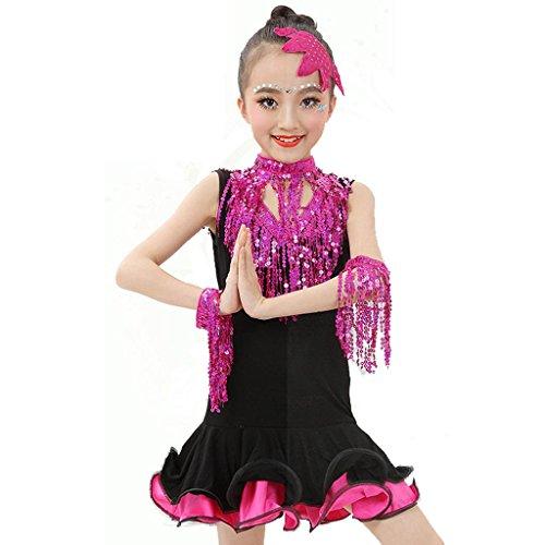 Wgwioo kinder latin tanz mädchen kleidung wettbewerb kleid pailletten zeigen performance kostüme studenten gruppe team , 1# , (Team Kostüm Wettbewerb)