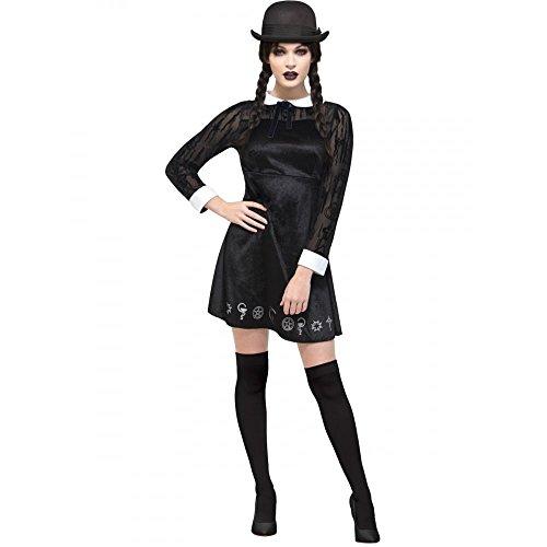 othic Schulmädchen Kostüm, Velours Kleid mit Bemalung, Größe: 44-46, 45132 ()