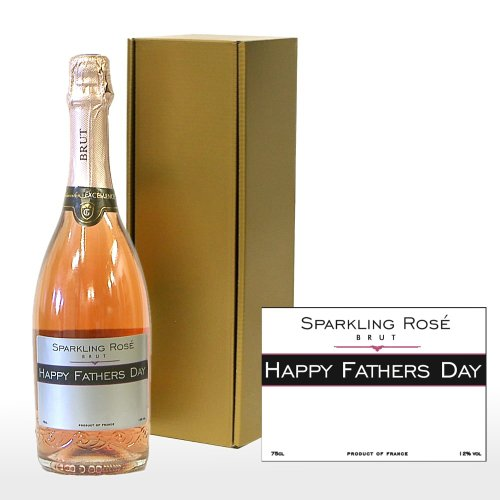 Personalised Fine Sparkling Rose Wine with 'Happy Fathers Day' on the Label in a Gold Gift Box - Gift Ideas for Dad on Father's Day